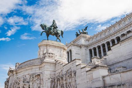 ancient bronze statue of Victor Emmanuel II on Altare della Patria (Altar of the Fatherland), Rome, Italy