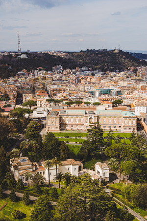 aerial view of ancient roman buildings and Governor Palace of Vatican City, Italy Imagens