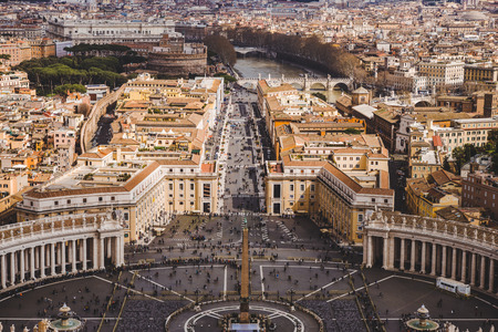 aerial view of crowded people at St. Peters square, Vatican, Italy