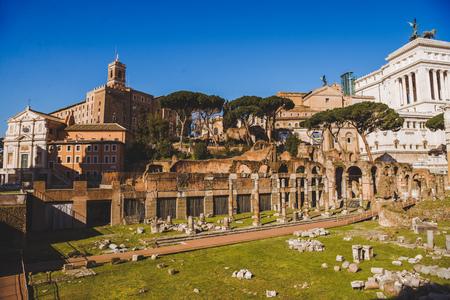 roman forum ruins on sunny day, Rome, Italy