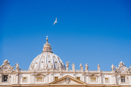 dove flying over famous St. Peters Basilica, Vatican, Italy Stock Photo