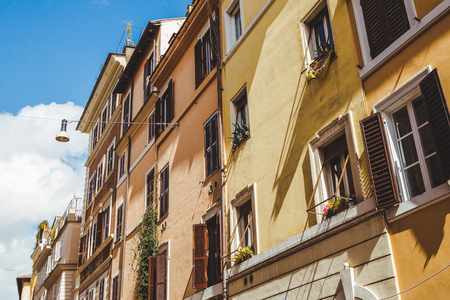 beautiful old buildings on street of Rome, Italy Stockfoto