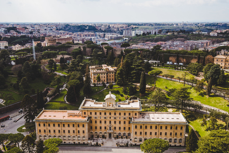 aerial view of Governor Palace of Vatican City, Italy