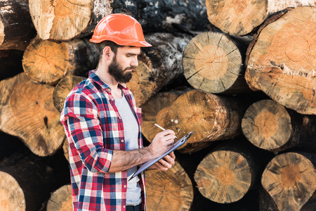 lumberjack in protective helmet writing in clipboard on logs background
