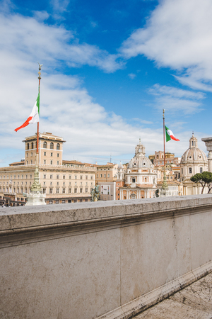 domes of Santa Maria di Loreto church seen from Altare della Patria (Altar of the Fatherland) at Rome, Italy 写真素材