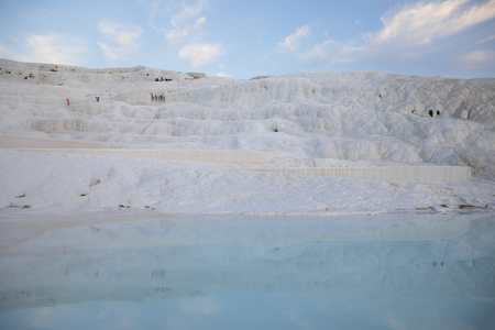 beautiful natural scene with white rocks and water in pamukkale, turkey Stock Photo