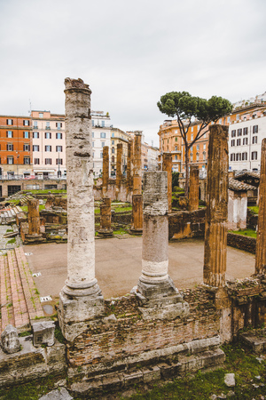 roman forum ruins on cloudy day, Rome, Italy