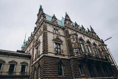 low angle view of Hamburg town hall building in Germany