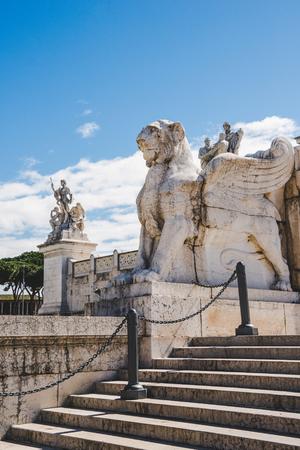 winged lion statue on Altare della Patria (Altar of the Fatherland), Rome, Italy