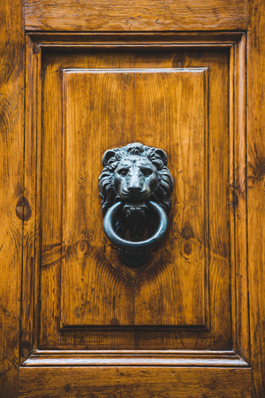 close-up shot of antique door holder in shape of lion head, Rome, Italy Stock Photo - 106623918