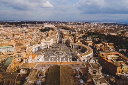 aerial view of famous St. Peters square, Vatican, Italy Banco de Imagens