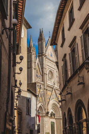 ancient historical Orvieto Cathedral and buildings in Orvieto, Rome suburb, Italy Stock Photo