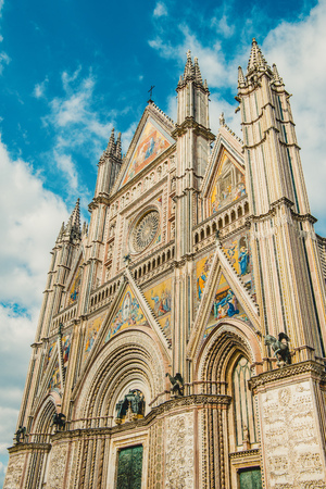 ancient historical Orvieto Cathedral and blue sky in Orvieto, Rome suburb, Italy
