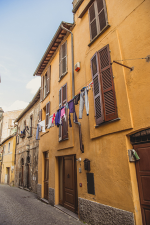 clothes drying outside the building in Orvieto, Rome suburb, Italy