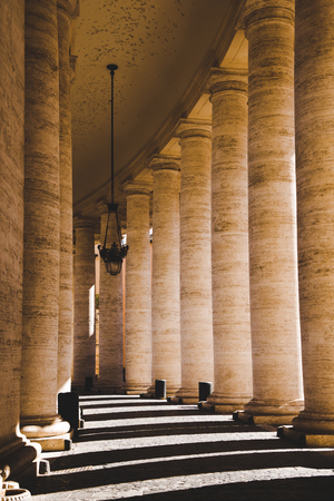 beautiful ancient columns with shadow in Vatican, Italy Reklamní fotografie - 106624447