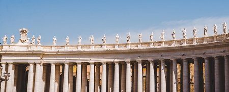 panorama view of statues and columns in Vatican, Italy