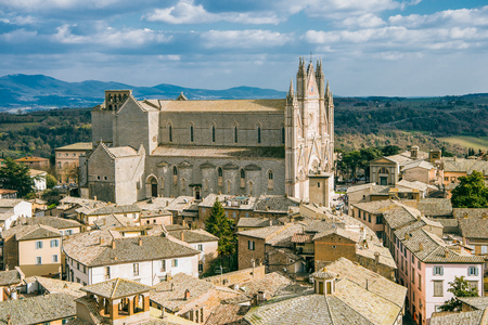 aerial view of old Orvieto Cathedral and buildings in Orvieto, Rome suburb, Italy