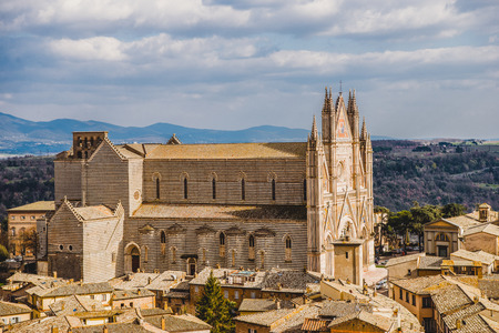 aerial view of Orvieto Cathedral in Orvieto, Rome suburb, Italy Stock Photo