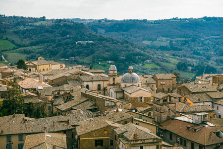 aerial view of buildings and church in Orvieto, Rome suburb, Italy Stock Photo