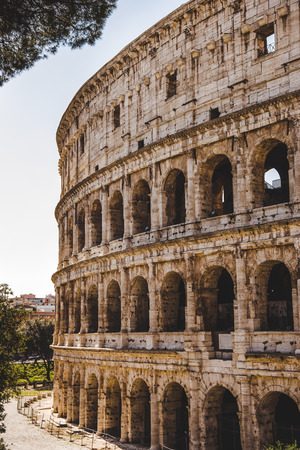historical ancient Colosseum ruins in Rome, Italy