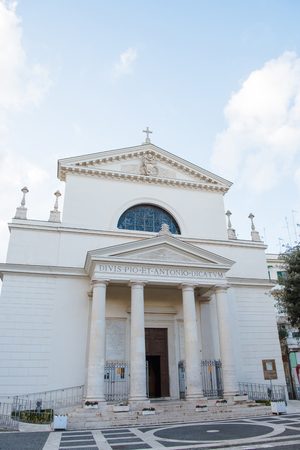 facade of church of saints pio and antonio in Anzio, Italy Banco de Imagens - 106624982