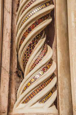 ornamental spirals on Orvieto Cathedral in Orvieto, Rome suburb, Italy Фото со стока