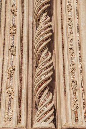 ornamental beautiful spirals on Orvieto Cathedral in Orvieto, Rome suburb, Italy Stock Photo