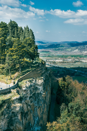 aerial view of cliff with trees near Orvieto, Rome suburb, Italy