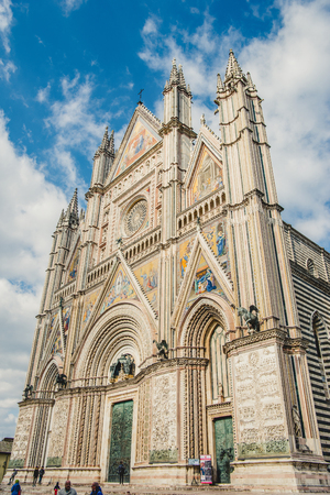 ORVIETO, ROME SUBURB, ITALY - MARCH 14, 2018: low angle view of orvieto cathedral Stock Photo