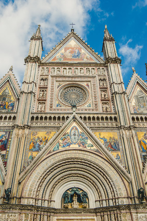 facade of ancient historical Orvieto Cathedral in Orvieto, Rome suburb, Italy Stock Photo