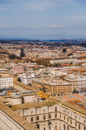 aerial view of buildings in Rome city, Italy