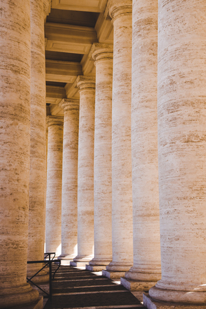 beautiful old columns in Vatican, Italy
