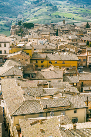 aerial view of buildings roofs in Orvieto, Rome suburb, Italy