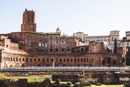 view on buildings from Roman Forum ruins in Rome, Italy Stock Photo