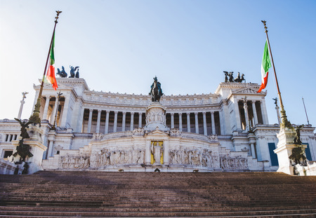 bottom view of National Monument to Victor Emmanuel II at Altar of the Fatherland in Rome, Italy