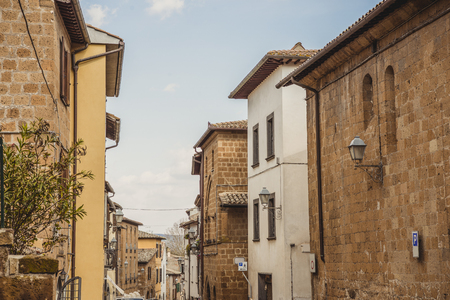beautiful old buildings in Orvieto, Rome suburb, Italy