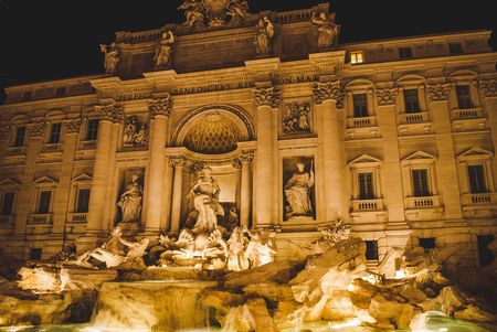 Trevi Fountain with illumination in evening in Rome, Italy