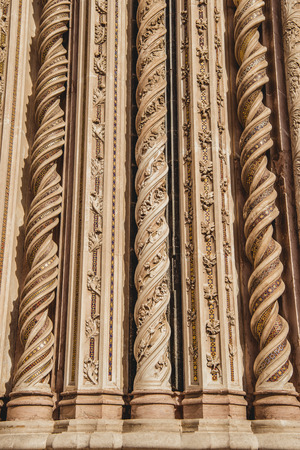 ornamental spirals on facade of Orvieto Cathedral in Orvieto, Rome suburb, Italy