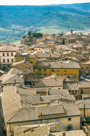 aerial view of old buildings in Orvieto, Rome suburb, Italy