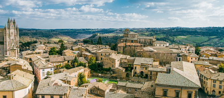 panorama of buildings and Orvieto Cathedral in Orvieto, Rome suburb, Italy Stock Photo