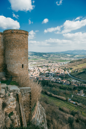 beautiful view of albornoz fortress and Orvieto city, Rome suburb, Italy Stock Photo