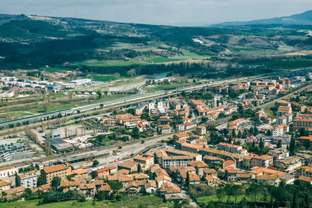 aerial view of buildings in Orvieto, Rome suburb, Italy