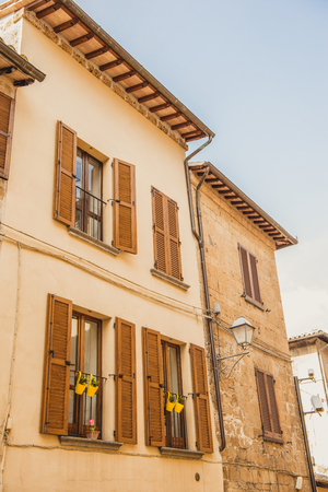 facade of two old buildings in Orvieto, Rome suburb, Italy Stock Photo