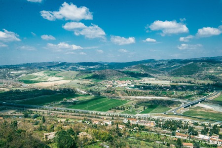 aerial view of beautiful hills and buildings in Orvieto, Rome suburb, Italy