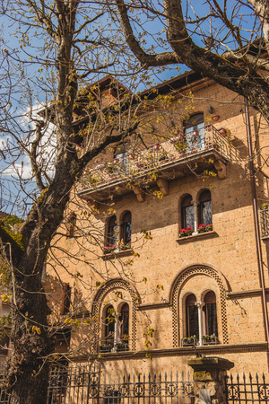 old building and trees in Orvieto, Rome suburb, Italy Stock Photo