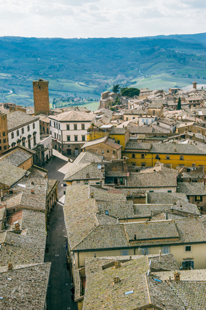 aerial view of buildings and empty street in Orvieto, Rome suburb, Italy