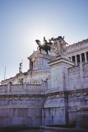 National Monument to Victor Emmanuel II at Altar of the Fatherland with sunlight in Rome, Italy