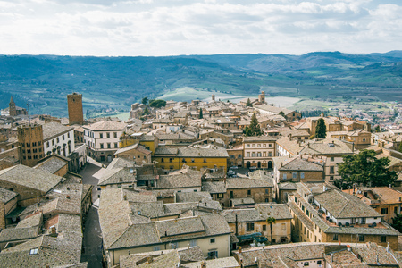aerial view of rooftops in Orvieto, Rome suburb, Italy