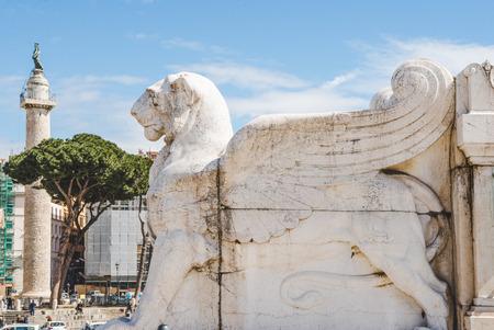 ROME, ITALY - 10 MARCH 2018: ancient winged lion statue on Altare della Patria (Altar of the Fatherland)