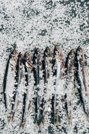 Top view of pile of salted fish and on surface covered by salt Stok Fotoğraf